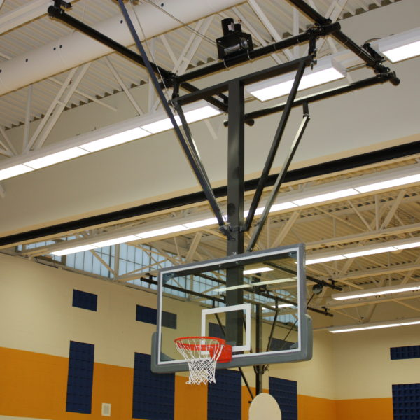 Forward Folding Ceiling Mounted Basketball Backstop