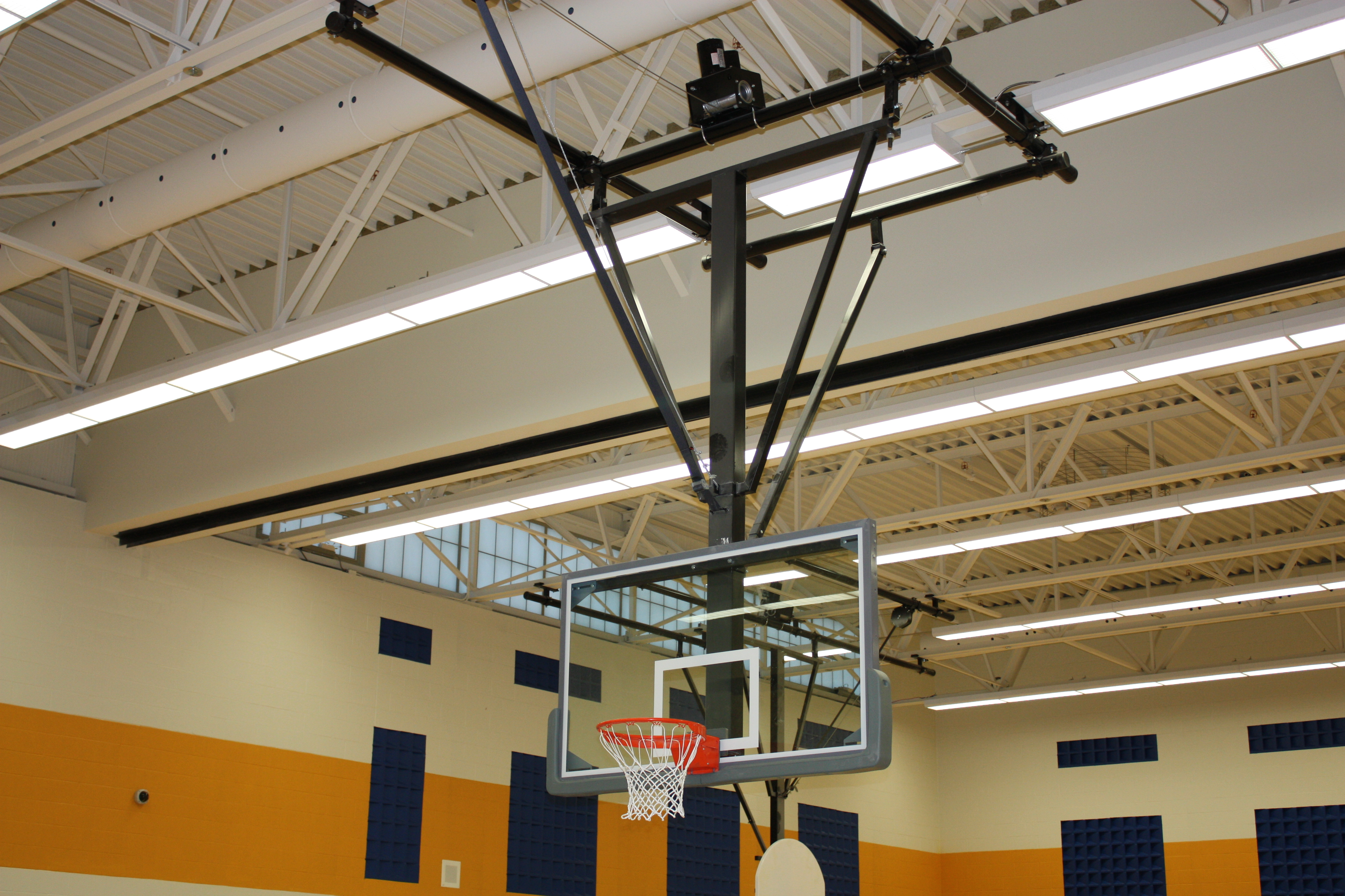 Forward Folding Ceiling Mounted Basketball Backstop